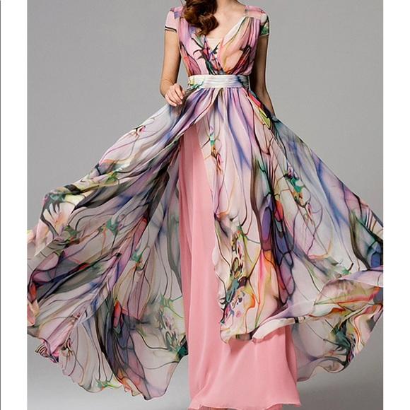 3a85442917 HZY STYLEWE Dresses   Skirts - 🎁NWT Multicolor Chiffon Maxi Dress Lg XLg